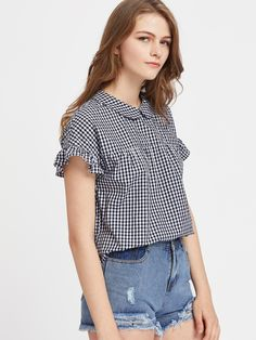 Shop Peter Pan Collar Tie Back Ruffle Sleeve Gingham Top online. SheIn offers Peter Pan Collar Tie Back Ruffle Sleeve Gingham Top & more to fit your fashionable needs.