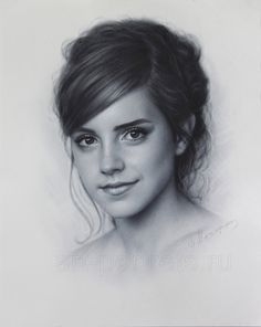 Emma Watson drawing portrait by DRY BRUSH by Drawing-Portraits on @DeviantArt