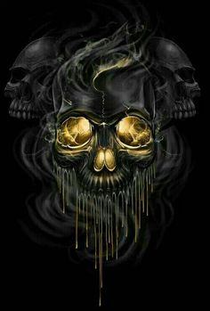 Melting golden smoke skulls