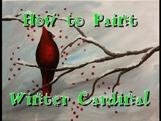 Winter Cardinal Step by Step Acrylic Painting on Canvas for Beginners - http://home-painting.info/winter-cardinal-step-by-step-acrylic-painting-on-canvas-for-beginners/