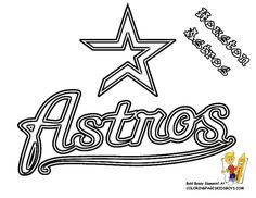 MLB Baseball Coloring Sheets for you kids. Cool coloring of American League Baseball teams logos of Yankees, Orioles, Red Sox, Indians, Tigers... This is the Astros Coloring Page. See 'n Crayon Match Team Colors!