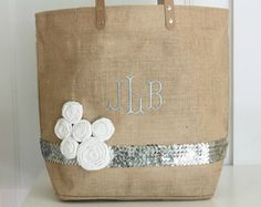Love the mix of burlap with sequins- monogrammed and flowered. (For inspiration.)