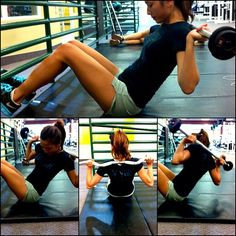 Sitting Broom twist. Works out your lower abs, transverse abdominals & obliques. Anchor your feet, lean back at a 45 degree angle, then slowly twist your torso & keep control. I usually do the 20 lbs curl bar but you can use dumbbells & rest them on your shoulder. Find us on - www.facebook.com/motivationofsports
