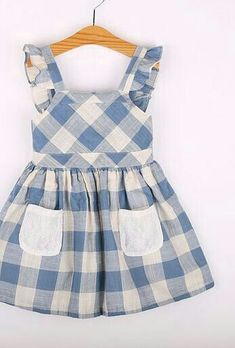 Cotton & Linen Plaid Blue Dress – Linen Dresses For Women Kids Frocks, Frocks For Girls, Dresses Kids Girl, Little Girl Dresses, Dresses For Children, Baby Girl Fashion, Toddler Fashion, Kids Fashion, Baby Outfits