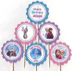 Glittery Frozen Cupcake Toppers Birthday Party Decorations Set of 12 inspired by Disney