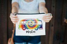 Tie Dye Makeup Bag, Tie Dye Bag, VW Bus Bag, Hippie Makeup Bag, Personalized Makeup Bag, Music Festival Bag, Bridal Party Gifts, Pen Bag Tie Dye Bags, Hippie Makeup, Festival Makeup Glitter, Personalized Makeup Bags, Glitter Face, Bridesmaid Proposal Gifts, Rave Outfits, Cosmetic Bag, Cotton Canvas