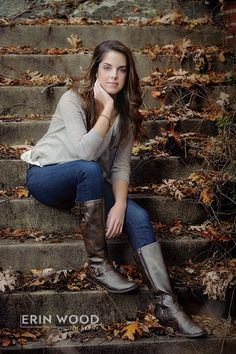 Senior Portrait / Photo / Picture Idea - Girls - Fall - Steps / Stairs
