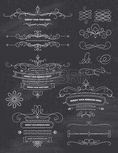 Vintage Kalligrafie Schoolbord Design Elements Stockfoto