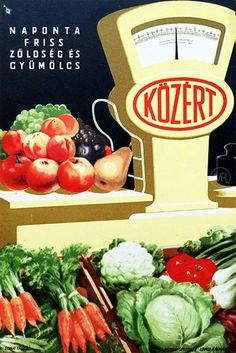 vintage Hungarian advertisment, Közért supermarket