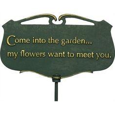Urban garden Quotes - Whitehall Products Flora and Fauna Come into the Garden Poem Plaque. Garden Poems, Garden Quotes, Garden Art, Garden Crafts, Dream Garden, Moon Garden, Garden Water, Garden Club, Terrace Garden