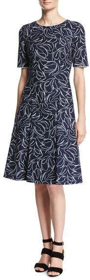 Oscar de la Renta Short-Sleeve Floral Jacquard Dress, Blue/White