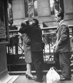 Couple In Penn Station Sharing Farewell Kiss Before He Ships Off To War, 1943