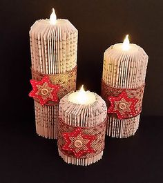 Folded book art Christmas Candles Set of 3 with battery Tea Lights Star Large