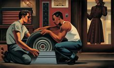 """Kenton Nelson, """"Useful Transactions (Right)"""" oil on canvas, 36 x 60 inches"""
