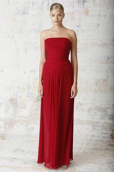 cranberry strapless draped chiffon long bridesmaid dress