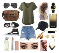 """""""Green & Gold"""" by tsimmons-2 on Polyvore featuring prAna, River Island, Vans, Yves Saint Laurent, '47 Brand, MICHAEL Michael Kors, Rolex, BaubleBar, Maybelline and Calvin Klein"""