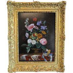 Antique flower painting ,oil on wood, signed Franz Xaver Pieler ( : Chateau Antique Flower Vases, Flowers, Antique Frames, Antique Paint, Light Painting, Vintage Art, Wood Signs, Ruby Lane, Hand Painted