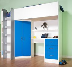 Cambridge High Sleeper Cabin Bed. This superb bed offers all the storage you need in a kids bedroom freeing up the floor space for playing. It has a double wardrobe, 3 drawers, a handy bookcase and shelf as well as A good sized desk for doing the homework at. Can be purchased at http://www.mrsflatpack.co.uk/ from as little as £300 (excluding delivery) Now also available in White/Pink and White/Blue.