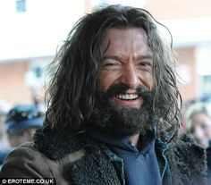 Downtrodden: Hunky: It's hard to believe one of the world's sexiest men is hiding under Hugh Jackman's bushy beard and bedraggled hair
