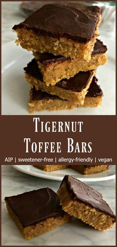Tigernut Toffee Bars Aip Gutsy By Nature - Tigernut Toffee Bars Aip Posted By Jaime Hartman On September In Featured Recipes Treats Comments There Are Few Treats That Bring Me Back To My Wholesome Midwestern Childhood As Quickly Paleo Dessert, Dessert Recipes, Paleo Recipes, Flour Recipes, Vegan Desserts, Free Recipes, Health Desserts, Appetizer Recipes, Baking Recipes