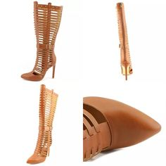 """Chelsea + Zoe Cutout Boot in Cognac, Sz 7 1/2 Primero Cutout Boot in Cognac, Size: 7.5. Excellent condition. Only flaws are on the soles as pictured.  Pointed toe. Cutout detail. Buckle strap detail. Back zip closure. Approx. 13.5"""" shaft height, 14.5"""" opening circumference. Approx. 4"""" heel. Chelsea + Zoe Shoes Heeled Boots"""