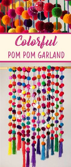 20 DIY Birthday Decoration Ideas to Delight the Guest of Honor These pom pom garlands are so colorful and fun! They'd be perfect for a Cinco de Mayo or Mexican themed party, or as a wall hanging or door beads in a boho chic style room. So adorable! Mexican Birthday Parties, Mexican Fiesta Party, Fiesta Theme Party, Mexico Party Theme, Mexican Party Decorations, Diy Birthday Decorations, Coachella Party Decorations, Coachella Party Theme, Party Decoration Ideas