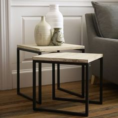 "Box Frame Nesting Tables #WestElm    Overall product dimensions: 16""w x 18""d x 16.75""h and 18""sq. x 18.75""h."