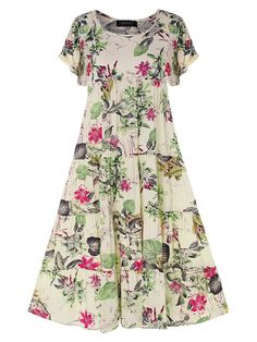Vintage Print Floral Short Sleeve Overhead Dress is high-quality, see other cheap summer dresses on NewChic. Blouses For Women, Sweaters For Women, Cheap Summer Dresses, Vestidos Vintage, Straight Dress, Vintage Shorts, Vintage Cotton, Floral Shorts, Types Of Sleeves