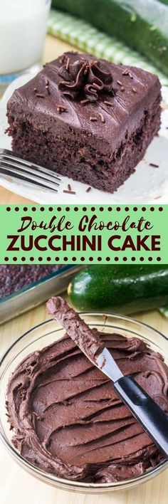 This Double Chocolate Zucchini Cake is super moist & extra chocolate-y. Then topped with creamy chocolate frosting - it's the perfect double dose of chocolate. via @ohsweetbasil