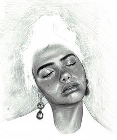 portraiture, negative space pencil, doodle girls