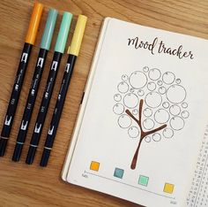 Cute tree mood tracker for your bullet journal! Bullet Journal Mood Tracker Ideas, Bullet Journal Notebook, Bullet Journal School, Bullet Journal Themes, Bullet Journal Layout, Bullet Journal Inspiration, Journal Ideas, Bullet Journal September, Life Journal