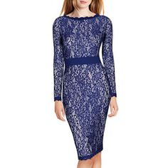 Long Sleeve Floral Lace Classic Slim Dress