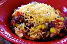 Ingredients 1 onion, chopped 24 oz. boneless, skinless chicken breasts 1 can ( 15 oz.) black beans, drained and rinsed 1 can ( 15 oz.) kidney beans, drained and rinsed 1 can ( 8 oz. ) tomato sauce 2 cans ( 15 oz. each) diced tomatoes with green chilies 10 oz. frozen corn 1 T. […]