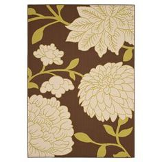 Loomed indoor/outdoor rug with a floral motif. Made in Turkey.  Product: RugConstruction Material: PolypropyleneColor: Brown and ivoryFeatures:  Power-loomedMade in TurkeySuitable for indoor and outdoor use  Note: Please be aware that actual colors may vary from those shown on your screen. Accent rugs may also not show the entire pattern that the corresponding area rugs have.Cleaning and Care: Professional cleaning recommended