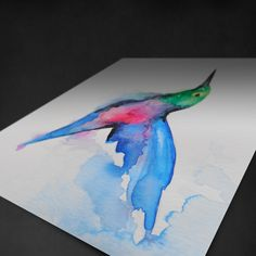 Watercolor Hummingbird Tattoo Design