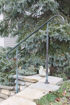 After one week | (solid hand-forged bronze outdoors) | Karine Maynard | Flickr Porch Handrails, Outdoor Stair Railing, Iron Handrails, Porch Stairs, Front Stairs, Banisters, Timber Handrail, Steel Handrail, Front Porch