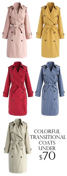 Refined Double-breasted Trench Coat in Pastel Pink/Berry/Sand/Dusty Blue/Mustard  Find more at Chicwish.com