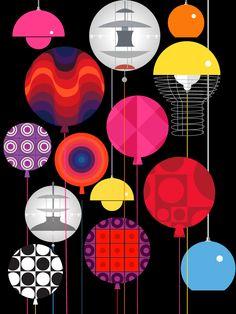 Verner Panton lamps and prints Scandinavian Design House, Scandinavian Interiors, Lamp Design, Chair Design, Design Design, Golden Design, Plywood Furniture, Modern Furniture, Furniture Design
