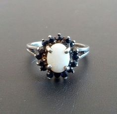 Sign 925 Sterling Silver Vintage Ring Size 7.5 Fire Opal Onyx Spring Flower 1179