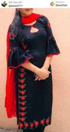 Salwar Designs, Kurta Designs Women, Blouse Designs, Sleeve Designs, Designer Punjabi Suits Patiala, Indian Designer Suits, Embroidery Suits Punjabi, Embroidery Suits Design, Kurti Styles