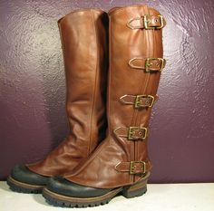 Caramel Brown Leather Steampunk Gaiters w Antiqued by VampieOodles, $125.00