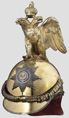 A Russian helmet for officers of the Tsar's Garde à Cheval, after 1900; the double-headed imperial eagle surmounts it.