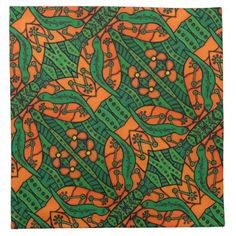 Orange and Green Gecko Lizard Pattern Cloth Napkin - pattern sample design template diy cyo customize