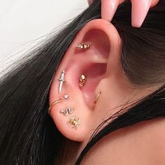 Rook Piercing Imitation Tiny Snake On Rings rook rings/fake ear hoops/small ear rings/faux anneau oreille/fake ear ohr piercing - Custom Jewelry Ideas Cute Jewelry, Body Jewelry, Jewelry Shop, Cheap Jewelry, Hippie Jewelry, Jewelry Holder, Piercings Bonitos, Cute Ear Piercings, Mouth Piercings