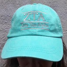 abbd6cdbd2521 Zeta Tau Alpha (ZTA) Sorority Hat Color Monogram  28.00. Great Greek Gift.