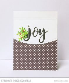 Lovely Christmas Card with the sentiment, Joy, holly and polka dots by: three umbrellas