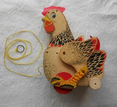 Fisher-Price 1958 to 1960 Hen Pull Toy Cackling Chicken Flapping Wings Wood Lithography String Pull Vintage 1958-1966
