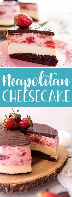 This Neapolitan Cheesecake is a triple threat! The classic ice cream flavor combo is perfectly transformed in this three-layer masterpiece of a dessert - chocolate brownie, creamy vanilla cheesecake, and fluffy strawberry cream topping, topped with a crown of chocolate ganache. #neapolitan #cheesecake #dessert #recipe #brownie #strawberry #whippedcream #chocolate #ganache #showstopper