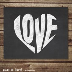 Valentine printable decor poster chalkboard by Justabirdprintables, $5.00