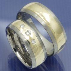 Gold und Steel Trauringe aus Edelstahl und 585 Gelbgold PB209777
